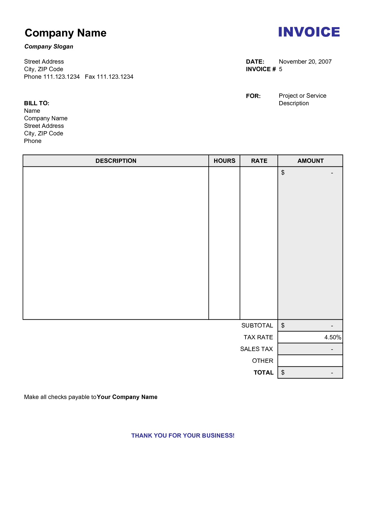 Blank Billing Invoice | Scope Of Work Template | Organization - Free Printable Invoice Forms