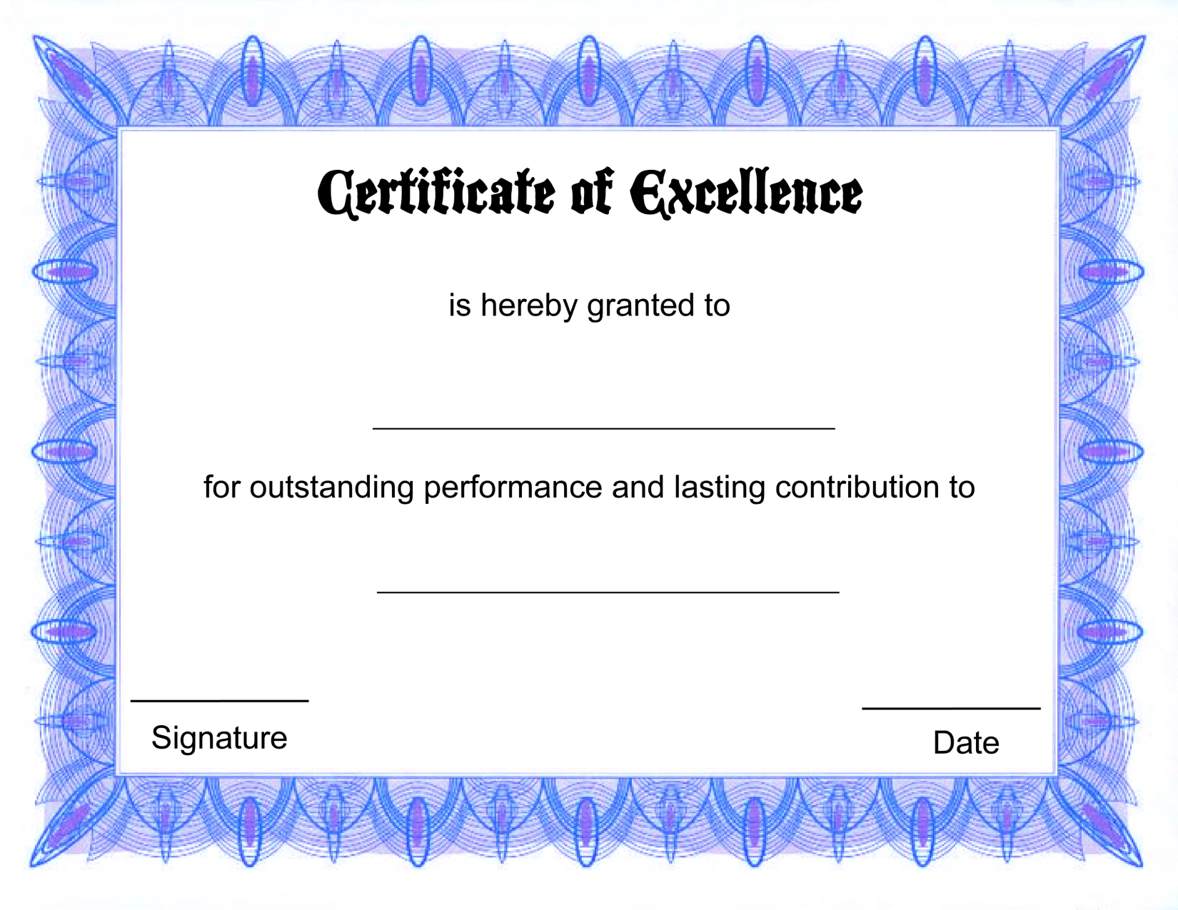 Blank Certificate Templates Of Excellence | Kiddo Shelter | Šįyyy - Free Printable Blank Certificate Templates