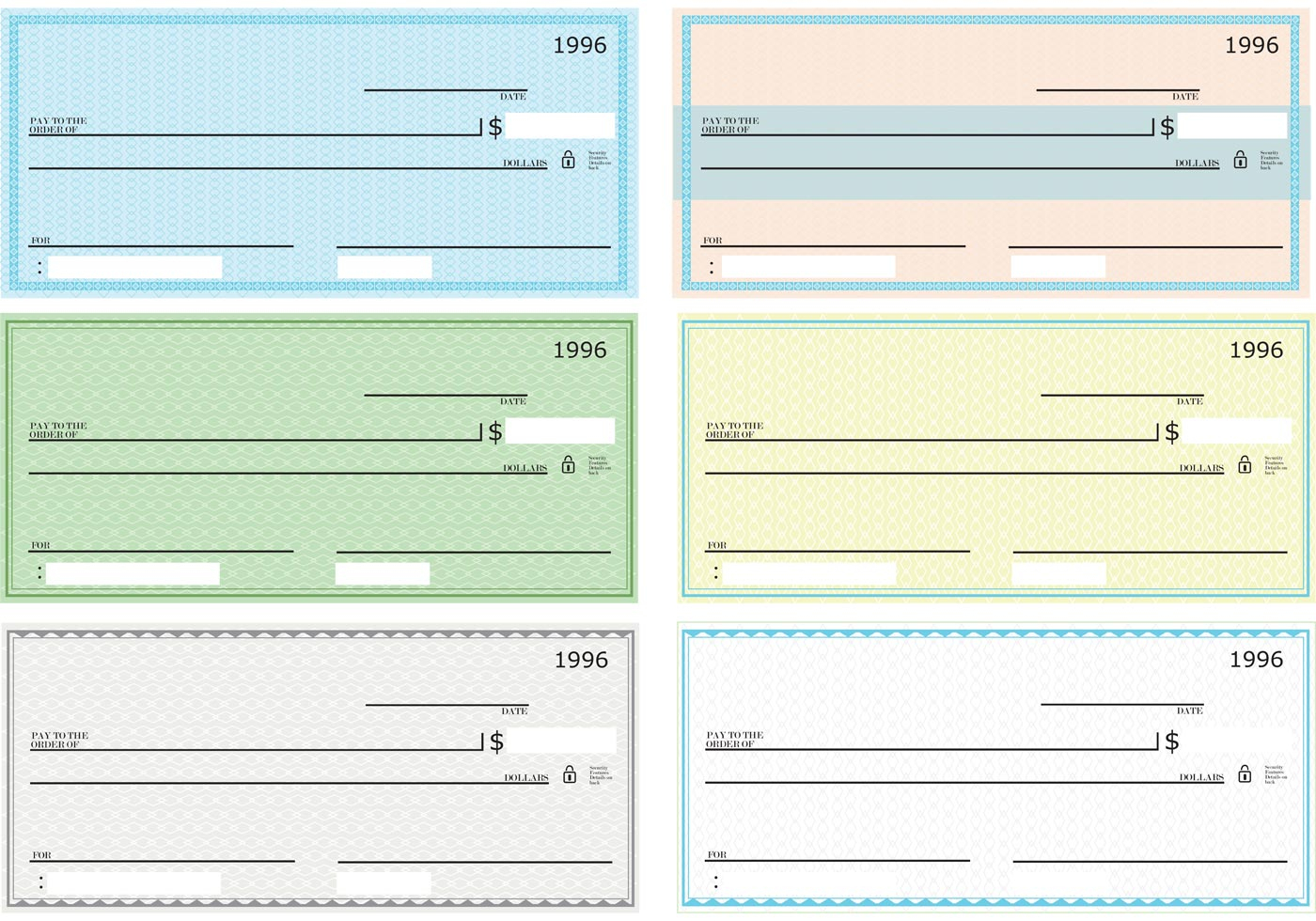 Blank Check Vector Pack - Download Free Vector Art, Stock Graphics - Free Printable Checks Template