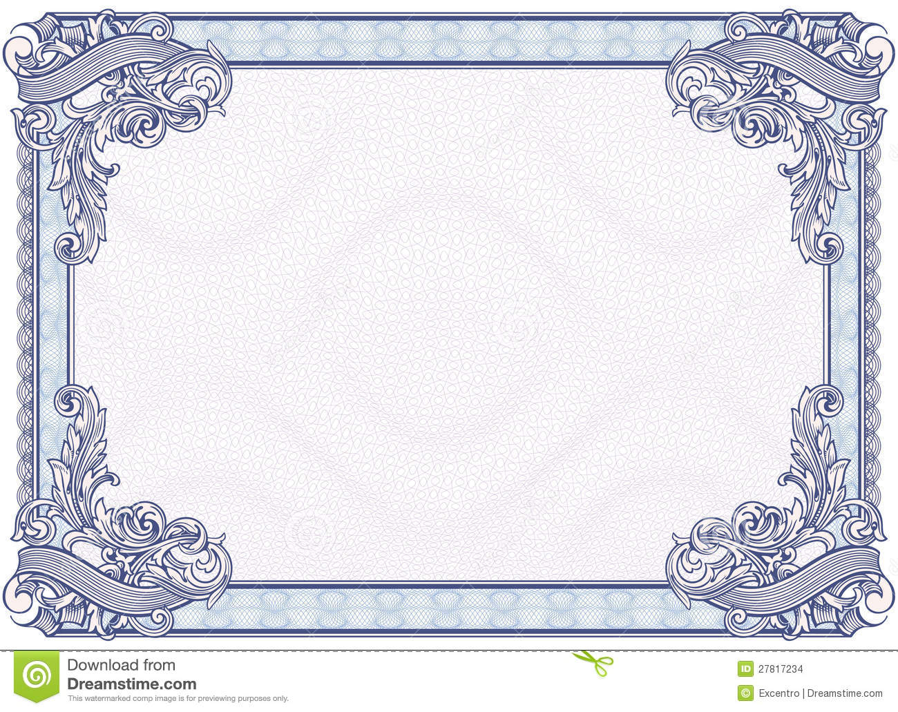 Blank Diploma Or Certificate Stock Vector - Illustration Of Currency - Free Printable Diploma Template