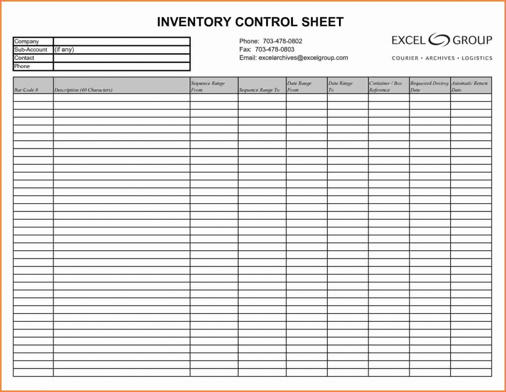 Blank Inventory Sheets Printable Unique Inventory List Template Pdf - Free Printable Inventory Sheets