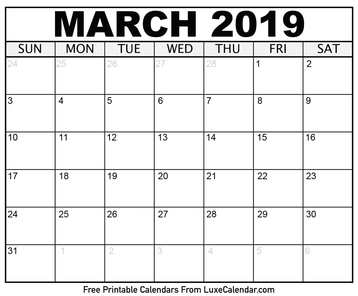Blank March 2019 Printable Calendar - Luxe Calendar - Free Printable March Activities