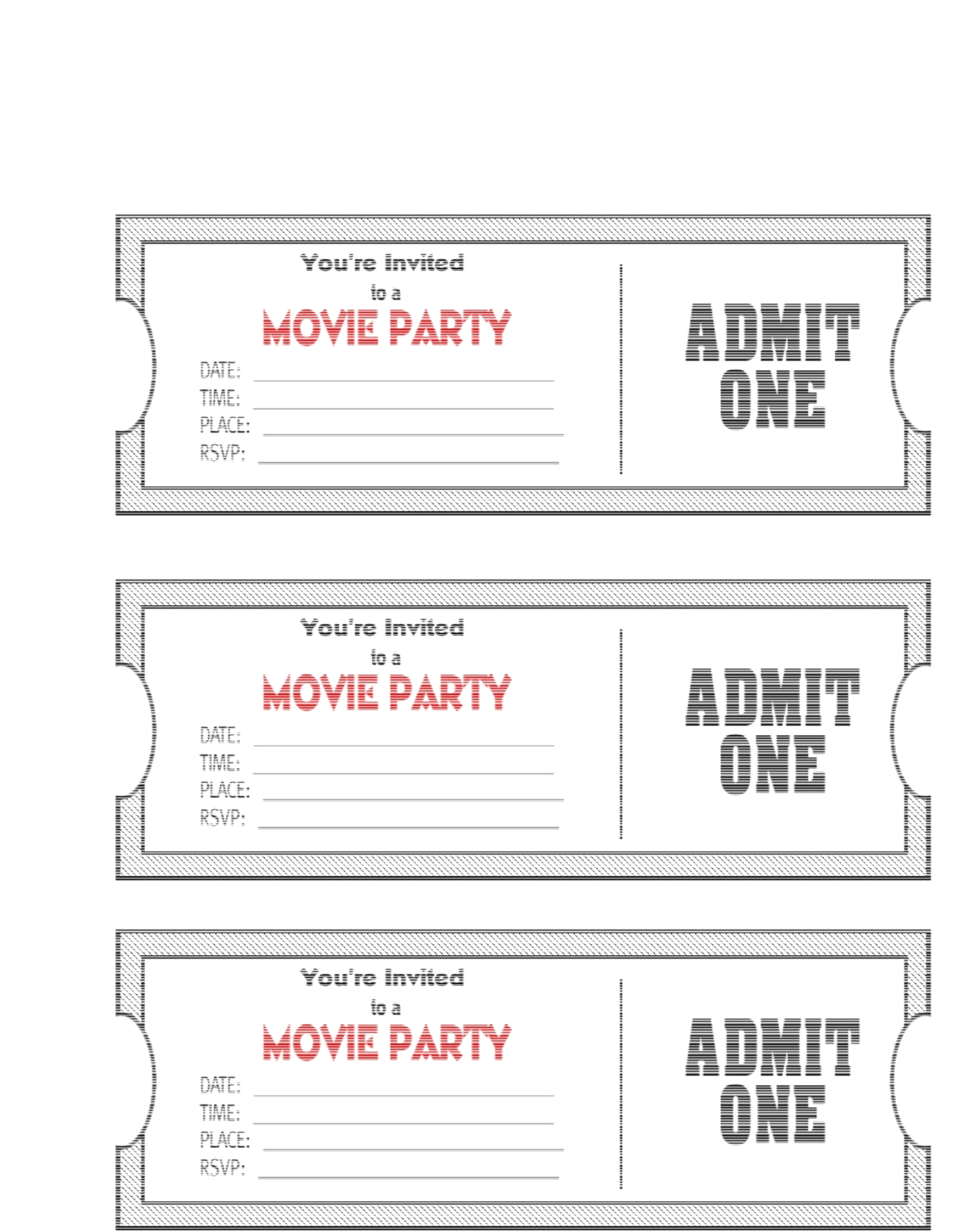 Blank Movie Ticket Invitation Template | Escort, Place Cards And - Free Printable Movie Themed Invitations