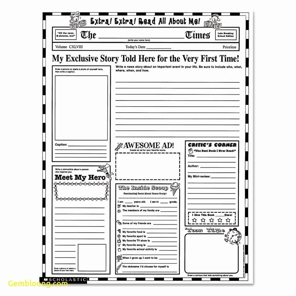 Blank Newspaper Template Lovely Free Printable Newspaper Worksheets - Free Printable Newspaper Templates For Students