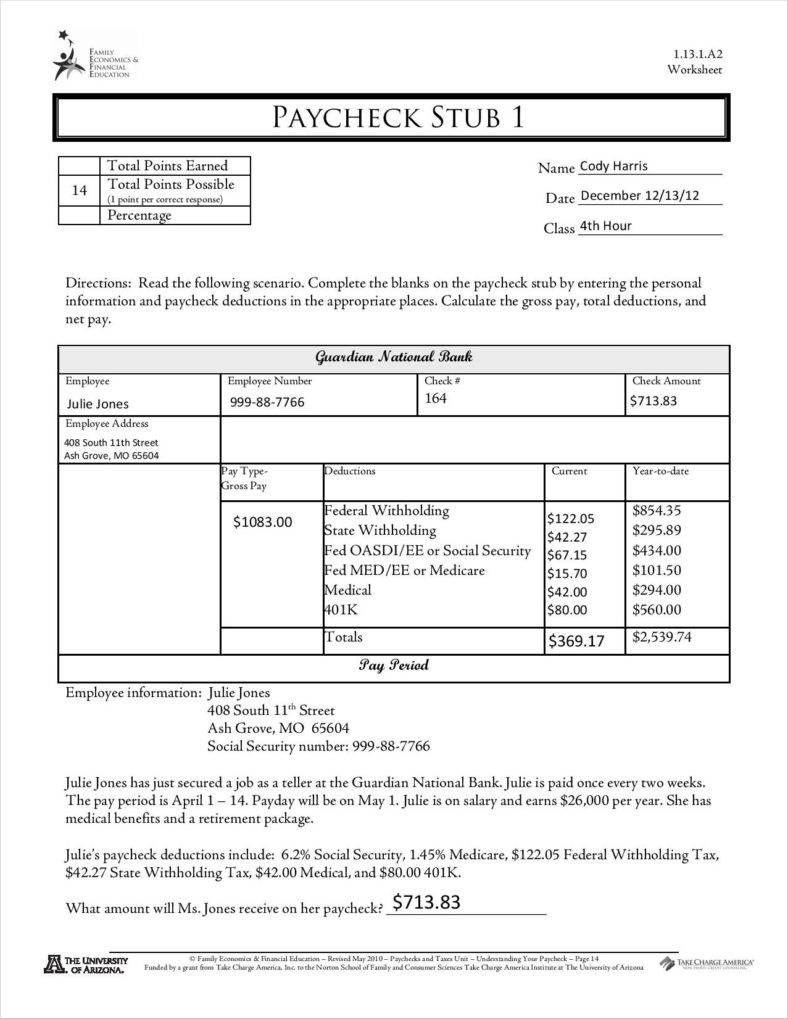 Blank Payroll Stub Printable Stubs Template Download Free Pay Check - Printable Pay Stub Template Free