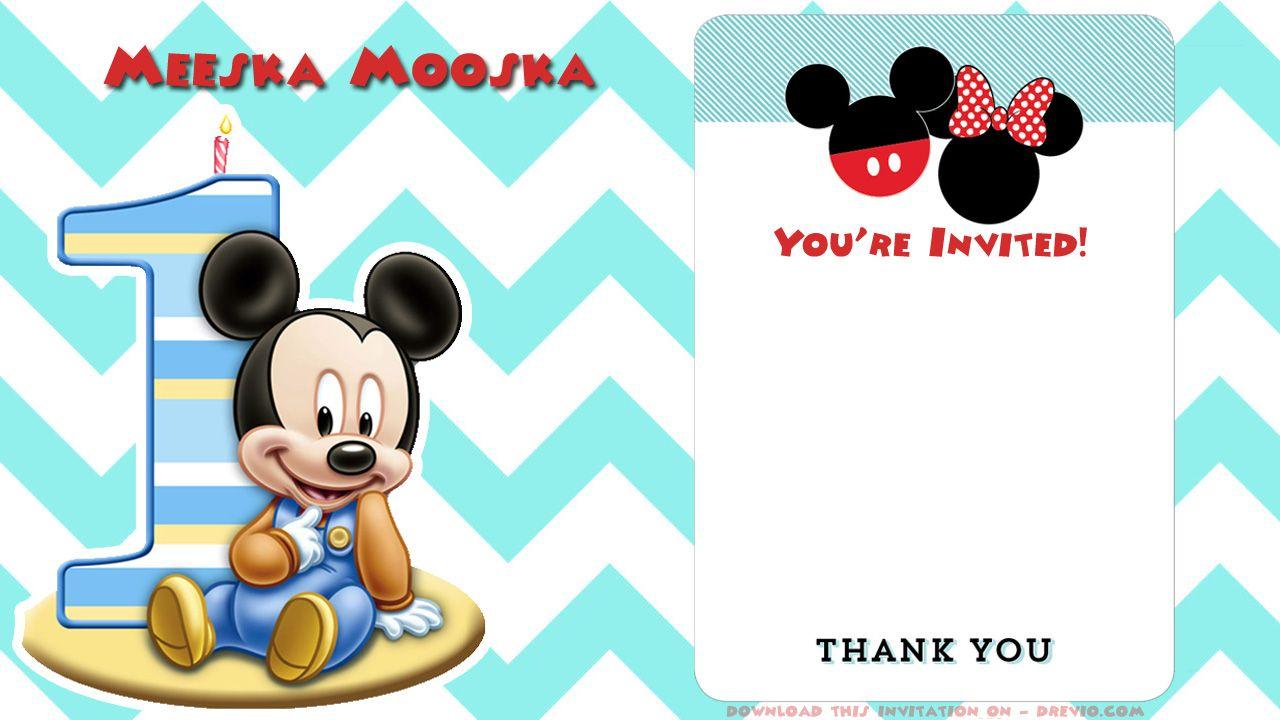 Blank Printable Mickey Mouse 1St Birthday Invitation | Birthday - Free Printable Mickey Mouse 1St Birthday Invitations