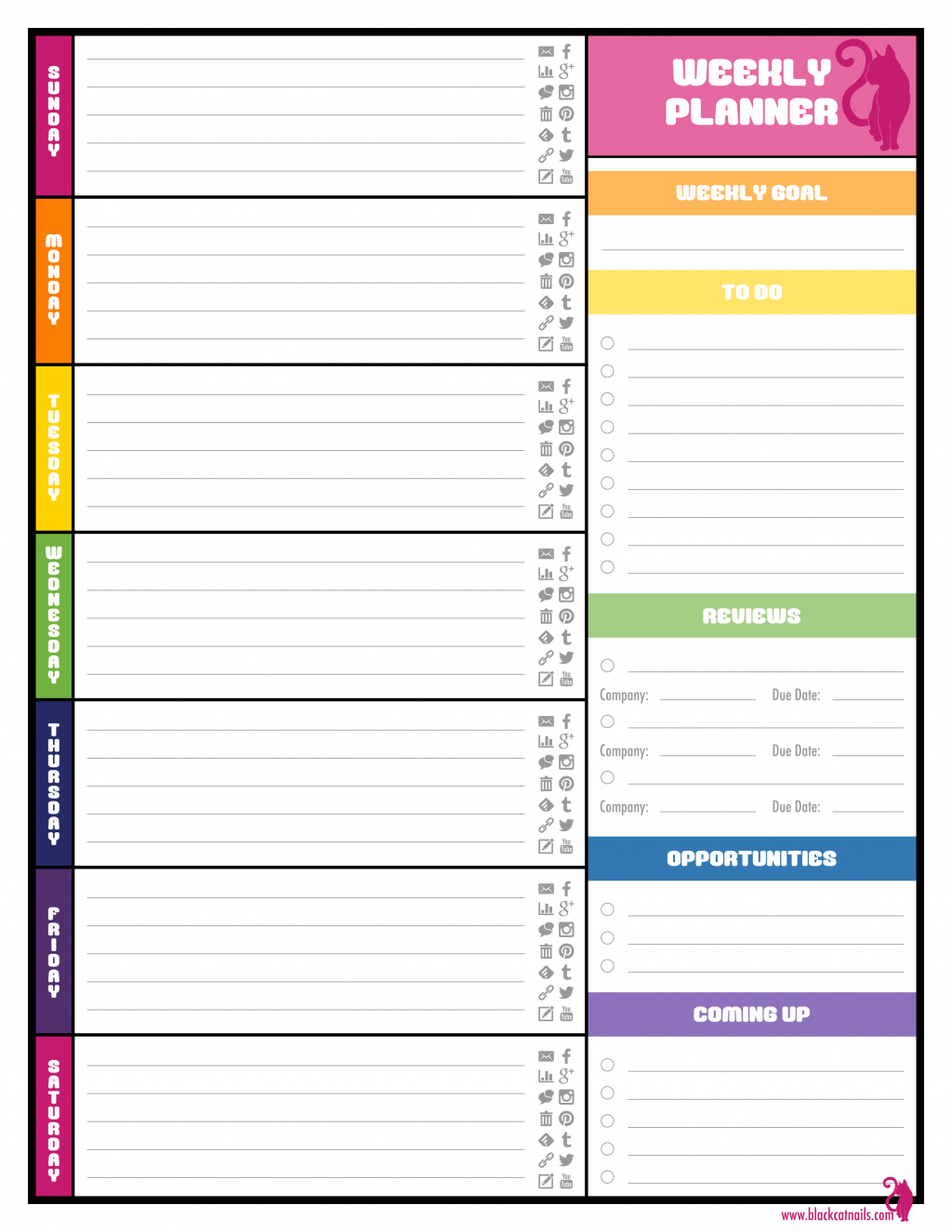 Blank Weekly Nner Pdf Student Template Free Printable Meal | Smorad - Student Planner Template Free Printable