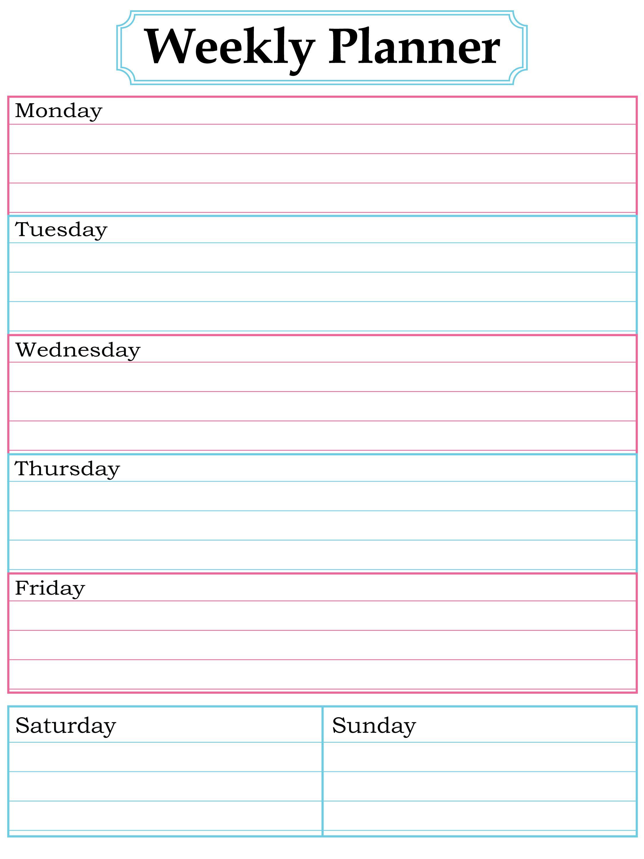 Blank Weekly Planner Printable - 5.8.kaartenstemp.nl • - Free Printable Blank Weekly Schedule