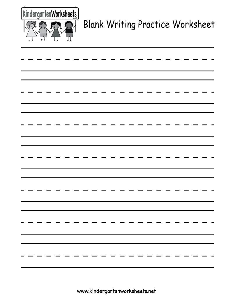 Blank Writing Practice Worksheet - Free Kindergarten English - Blank Handwriting Worksheets Printable Free