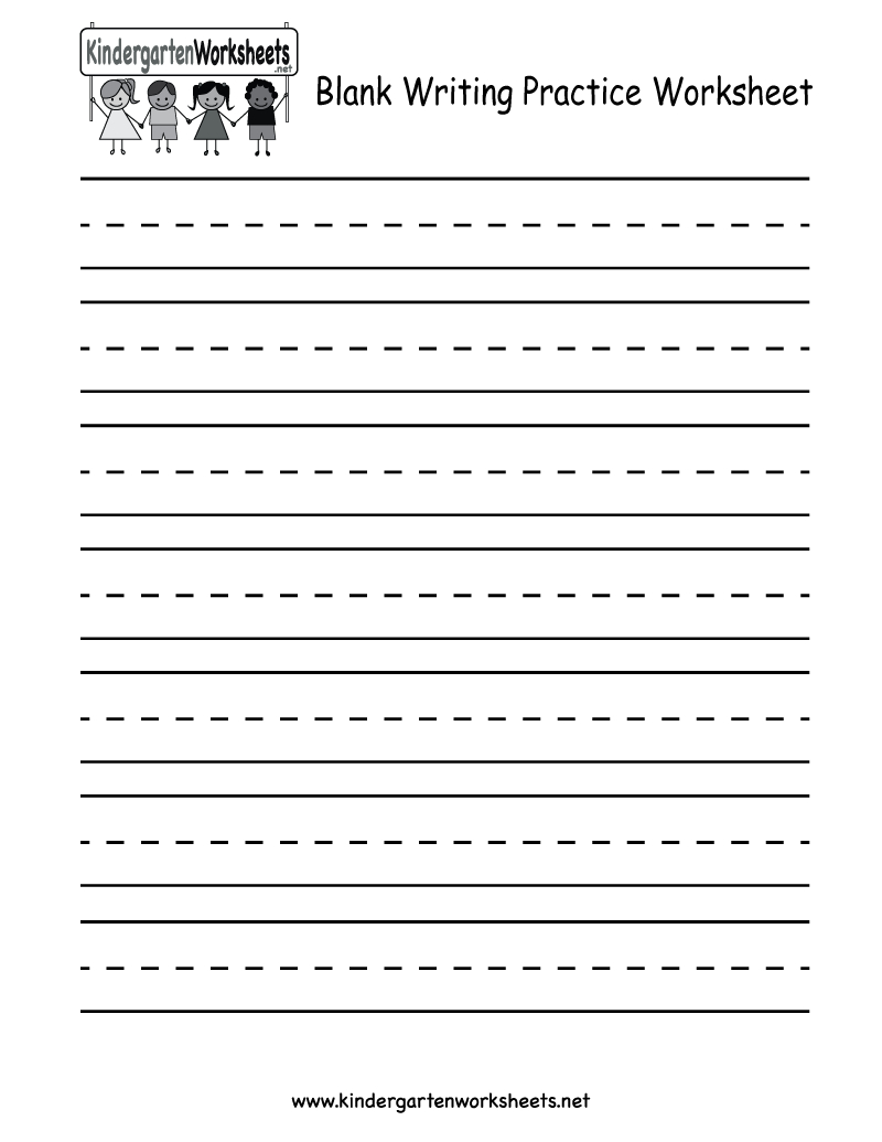 Blank Writing Practice Worksheet - Free Kindergarten English - Free Printable Practice Name Writing Sheets