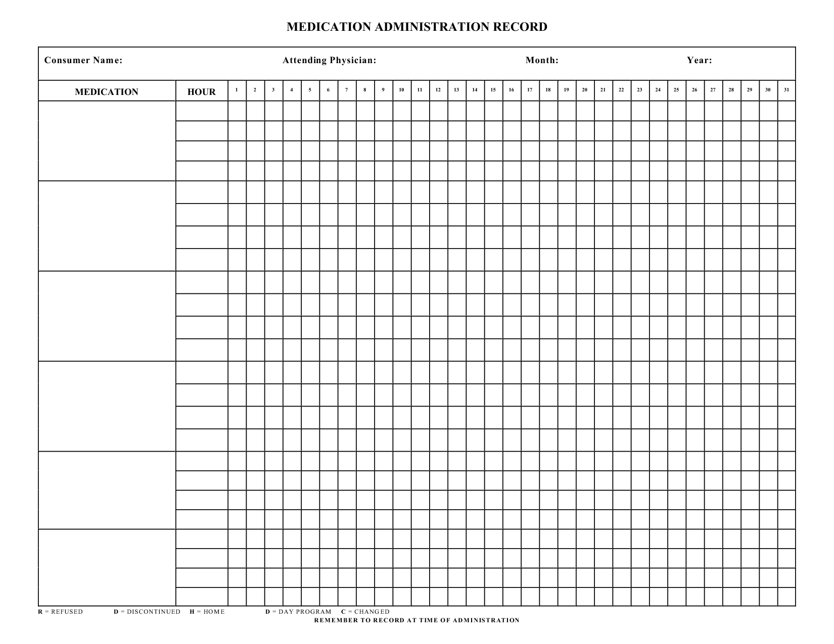 Blank+Medication+Administration+Record+Template | Work | Pinterest - Medication Chart Printable Free
