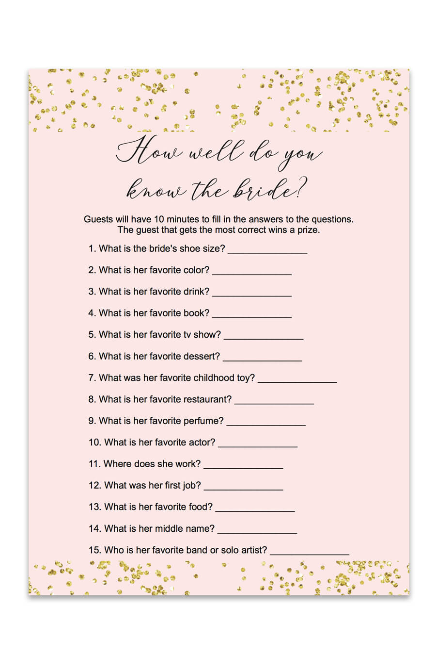 Blush And Confetti How Well Do You Know The Bride Game - Chicfetti - How Well Do You Know The Bride Game Free Printable