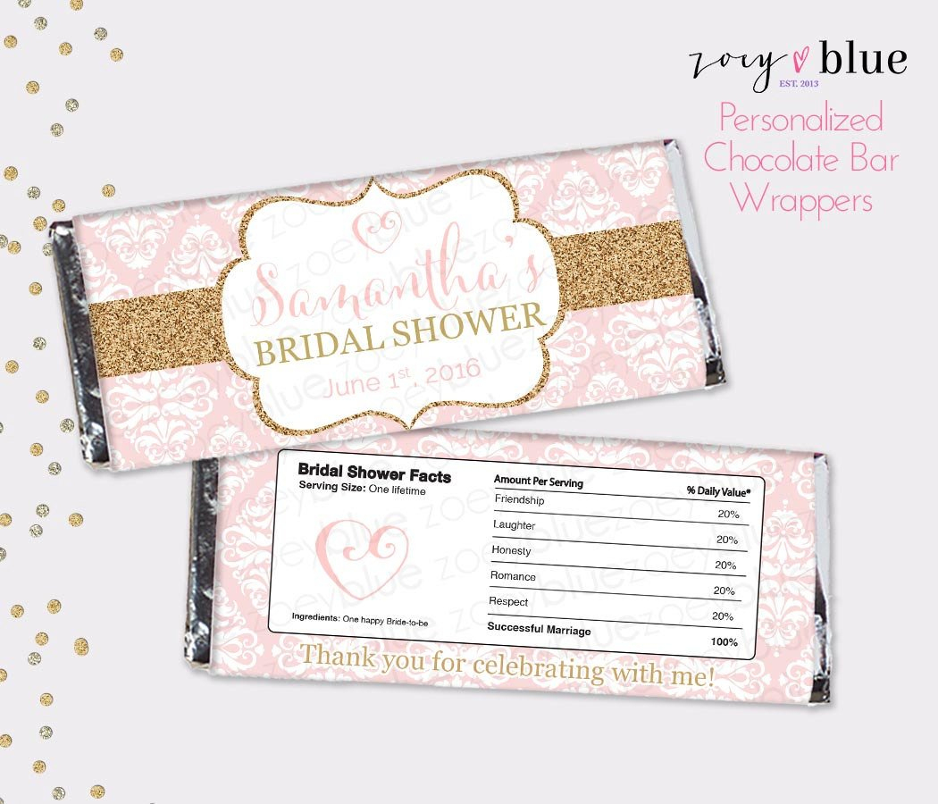 Blush Pink Gold Bridal Shower Chocolate Bar Wrapper Single Handle - Free Printable Candy Bar Wrappers For Bridal Shower
