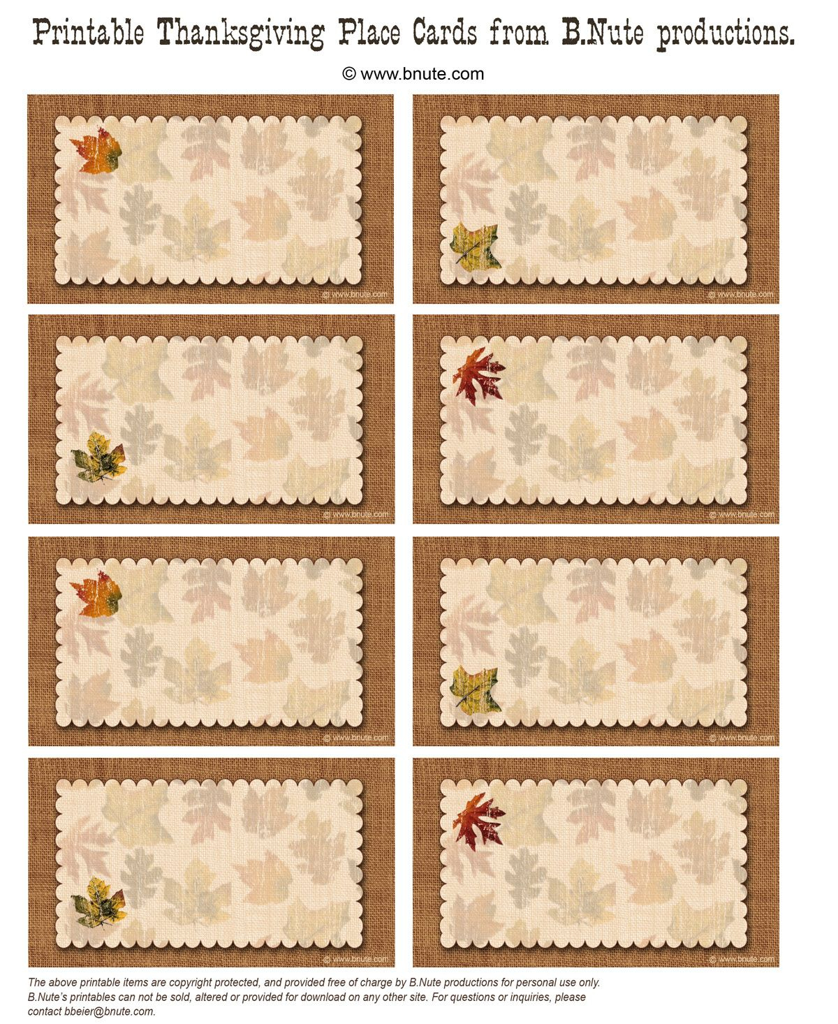 Bnute Productions: Free Printable Autumn Place Cards Perfect For - Free Printable Thanksgiving Place Cards To Color