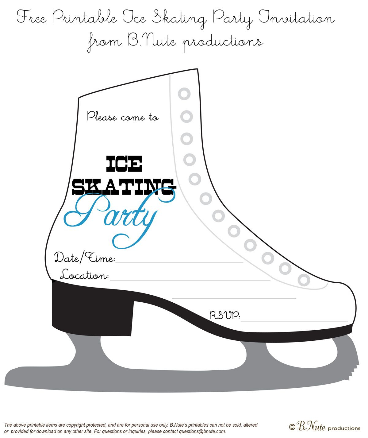 Bnute Productions: Free Printable Ice Skating Party Invitation - Free Printable Skateboard Birthday Party Invitations