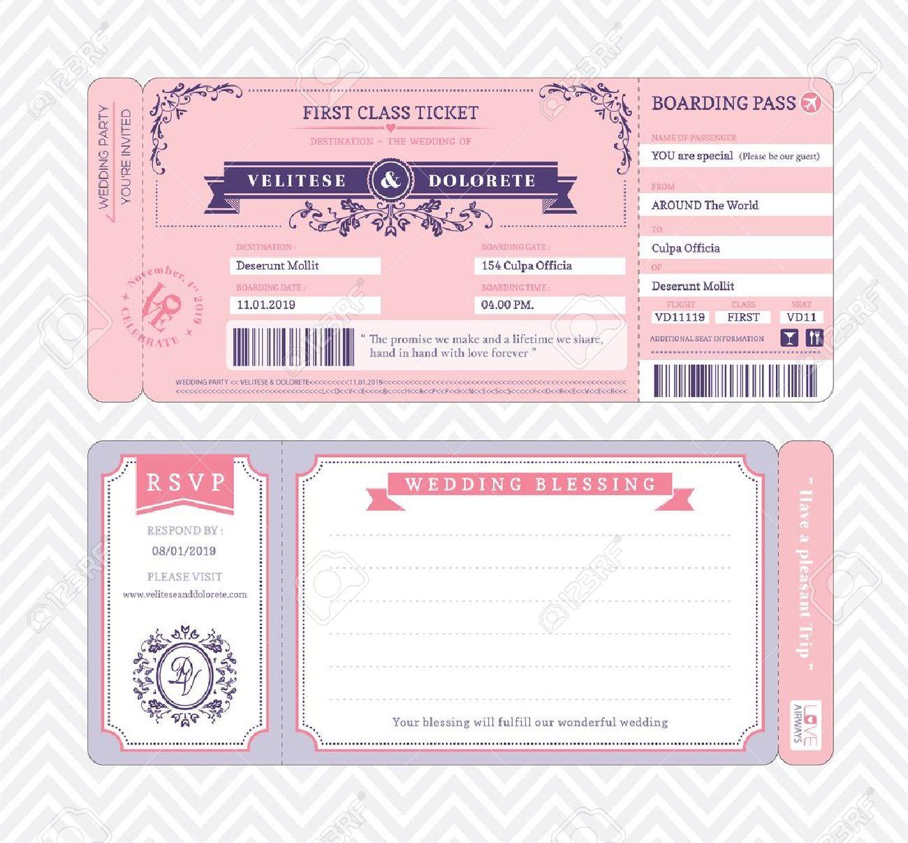 Boarding Pass Ticket Wedding Invitation Template Royalty Free - Free Printable Ticket Invitation Templates