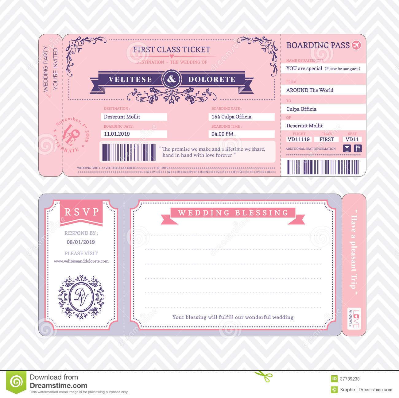 Boarding Pass Wedding Invitation Template Stock Vector - Free Printable Ticket Invitations