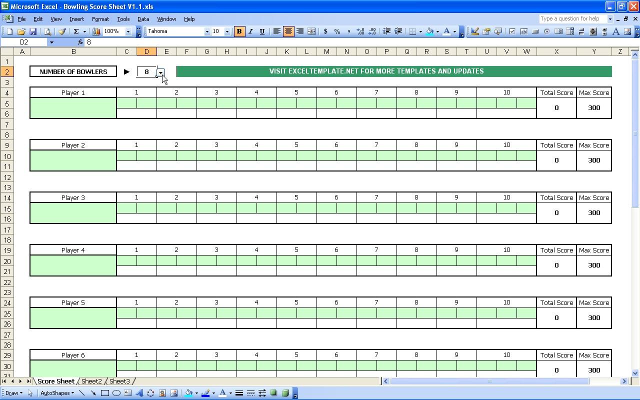 Bowling Score Sheet | Excel Templates - Free Printable Bowling Score Sheets
