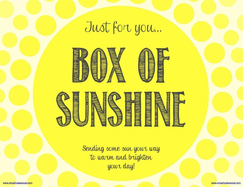 Box Of Sunshine & Free Digital Download | Gift -Box Of Sunshine - Box Of Sunshine Free Printable