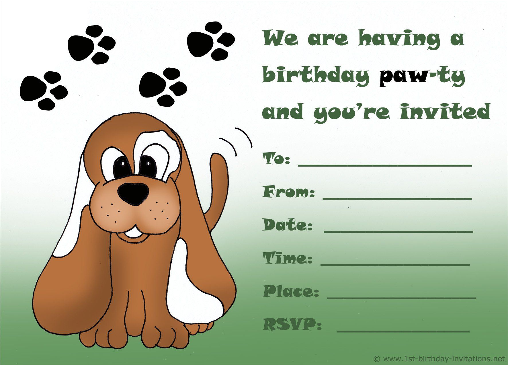 Boy-Birthday-Invitation-Cards-Free-Printable | Birthday Invitations - Free Printable Puppy Dog Birthday Invitations