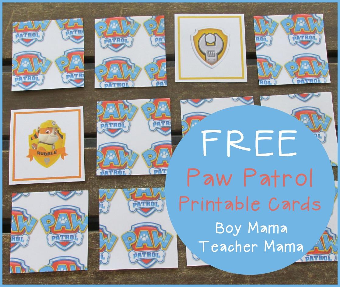 Boy Mama: Free Paw Patrol Printable Cards - Boy Mama Teacher Mama - Free Printable Snap Cards