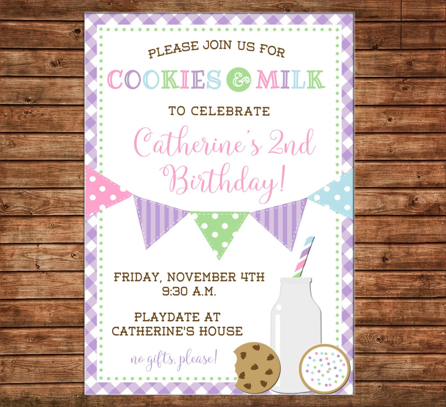 Boy Or Girl Invitation Cookies And Milk Playdate Birthday Party - Can - Play Date Invitations Free Printable