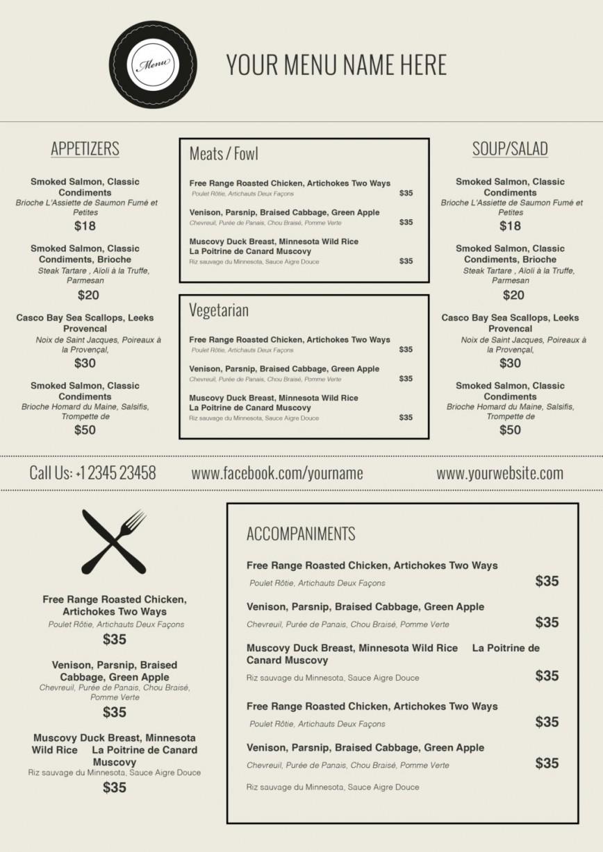 Breathtaking Free Printable Restaurant Menu Templates ~ Ulyssesroom - Free Printable Restaurant Menu Templates