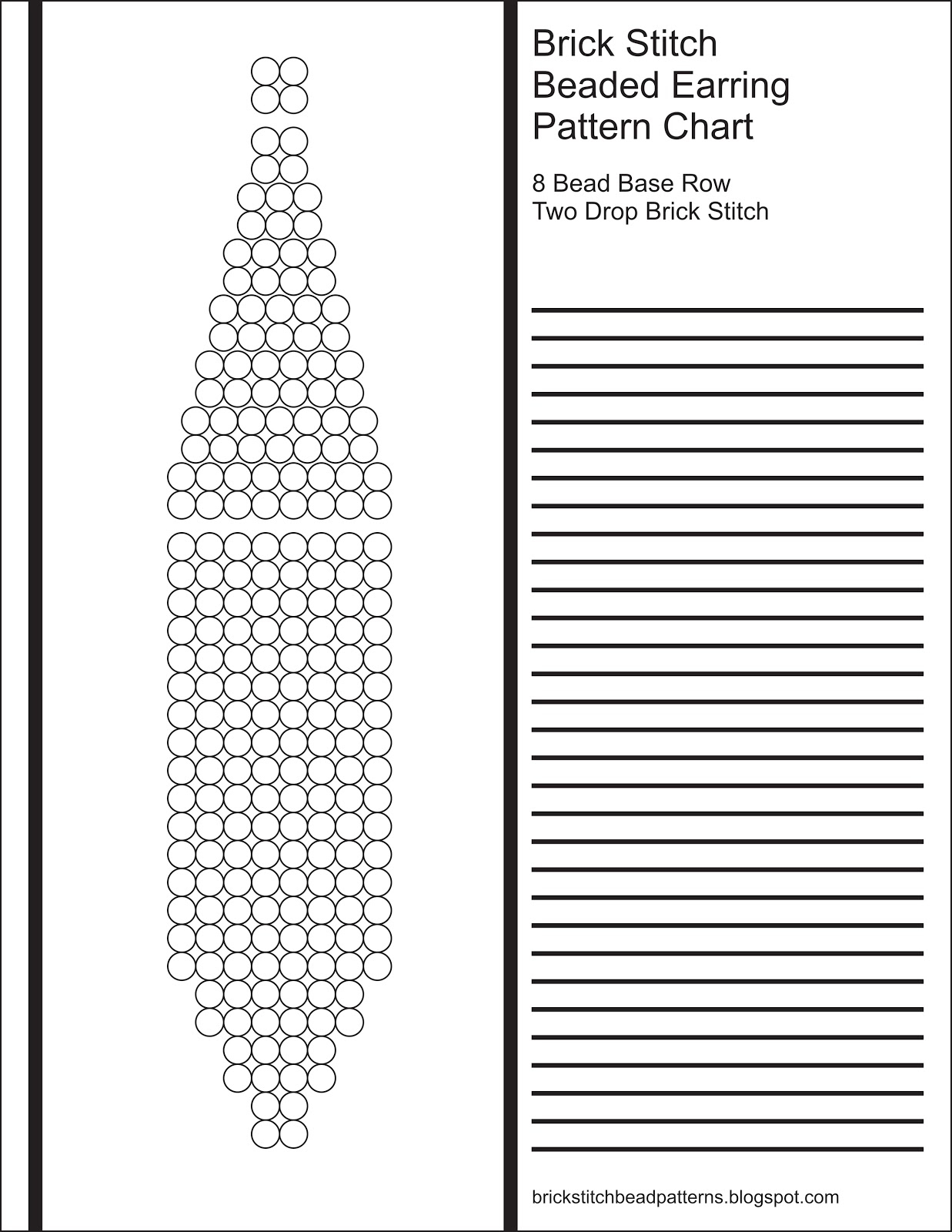 Brick Stitch Bead Patterns Journal: 8 Bead Base Row 2 Drop Blank - Free Printable Beading Patterns