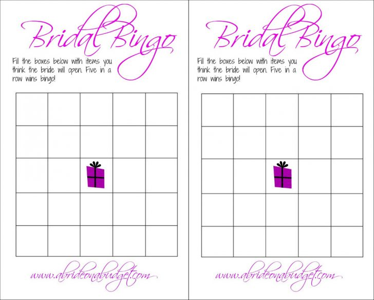 Free Printable Bridal Shower Bingo