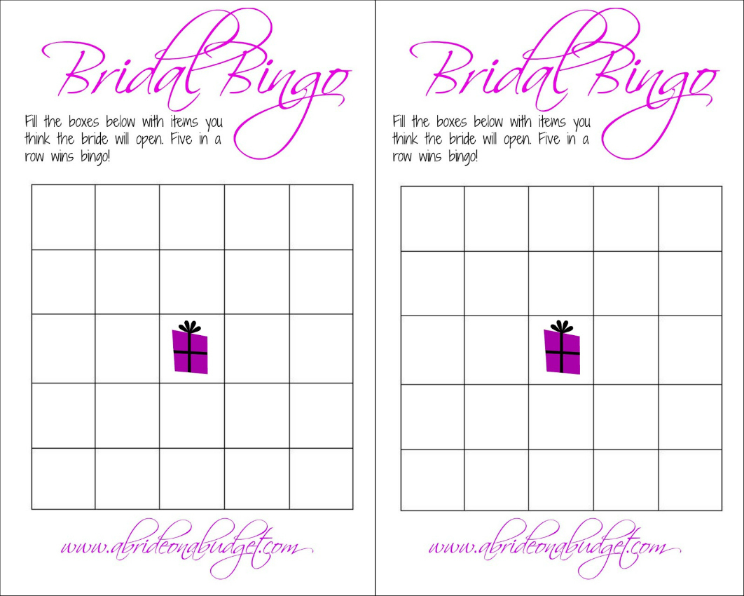 Bridal Bingo (And A Free Printable) | A Bride On A Budget - Free Printable Bridal Shower Bingo