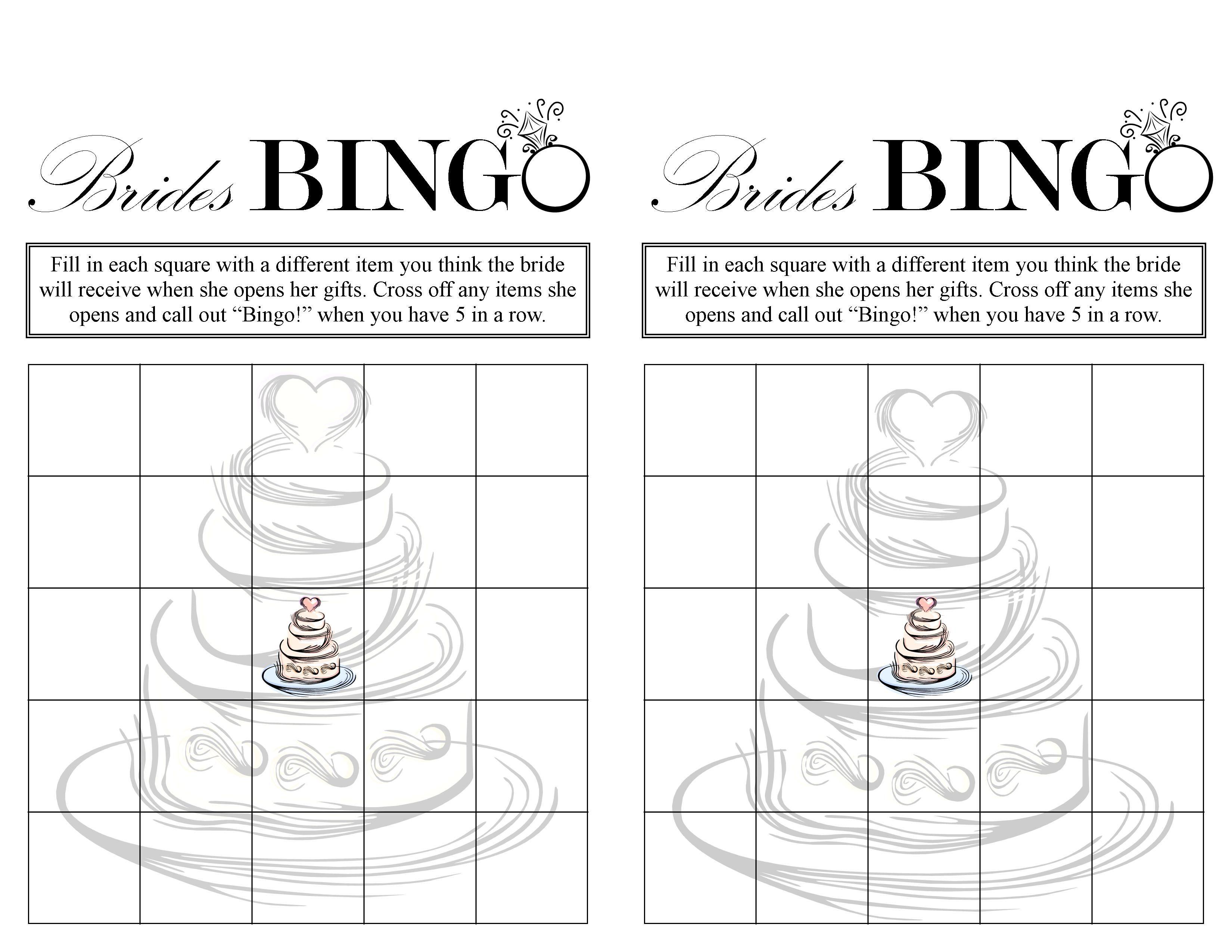 Bridal Shower Bingo (Free Printable) | Weddings- Love It - Free Printable Bridal Shower Blank Bingo Games
