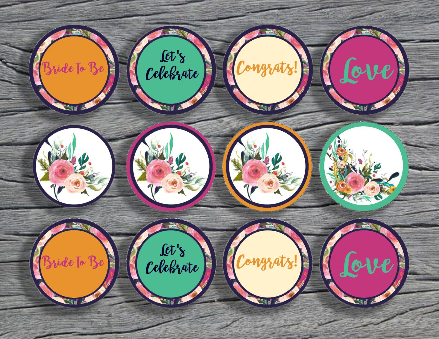 Bridal Shower Cupcake Toppers ,wedding Shower Decor,floral Bridal - Free Printable Cupcake Toppers Bridal Shower