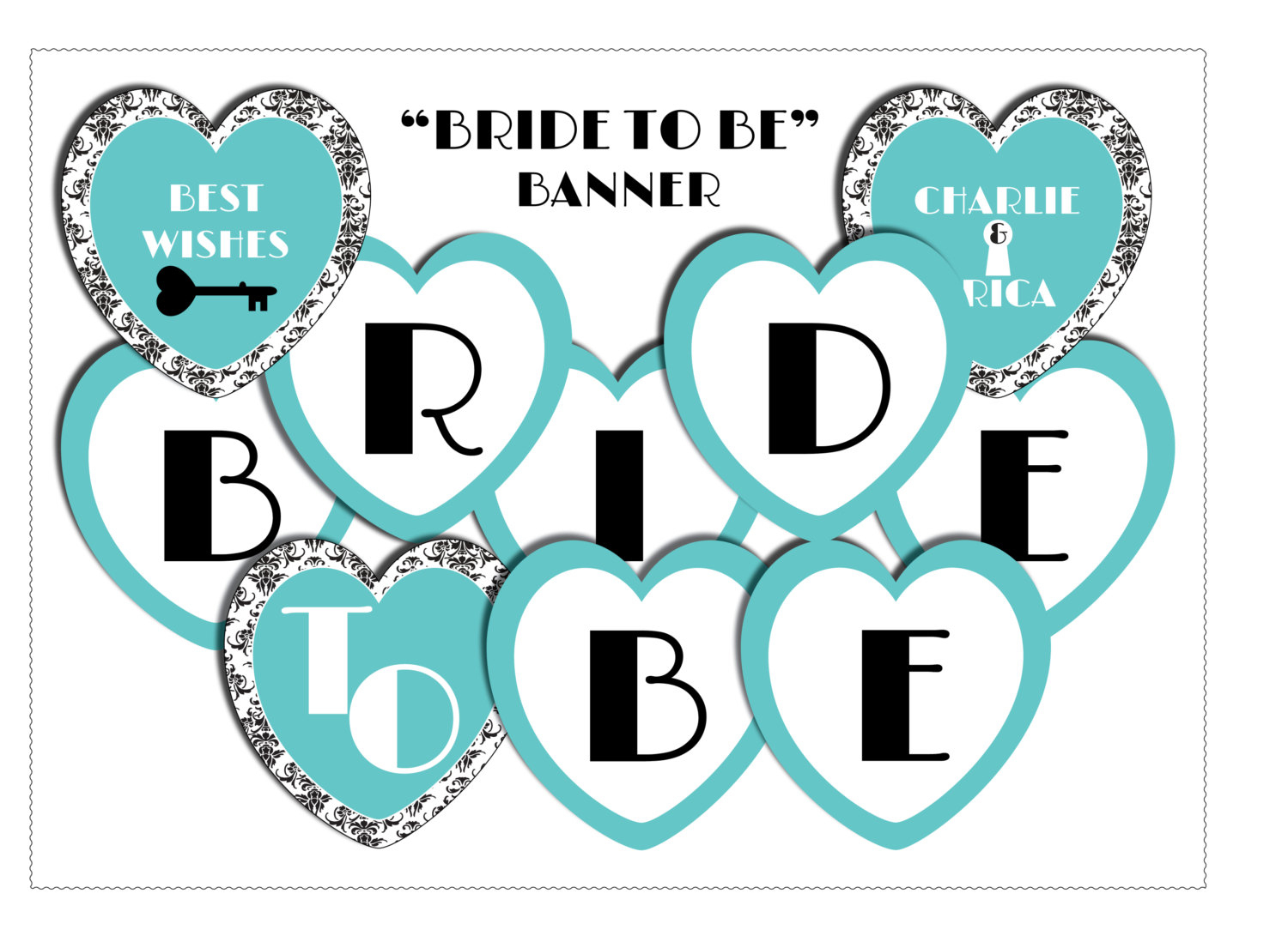 Bridal Shower Heart Banner-Miss To Mrs Banner-Digital Download | Etsy - Free Printable Miss To Mrs Banner