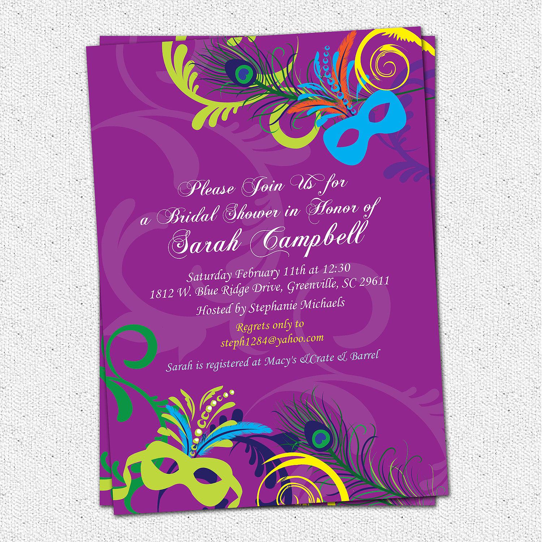 Bridal Shower Invitations, Mardigras, Mardi Gras, Wedding Invitation - Free Printable Mardi Gras Invitations