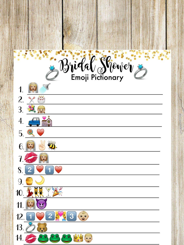 Bridal Shower Pictionary Emoji Game. Bridal Shower Game | Shower - Wedding Emoji Pictionary Free Printable