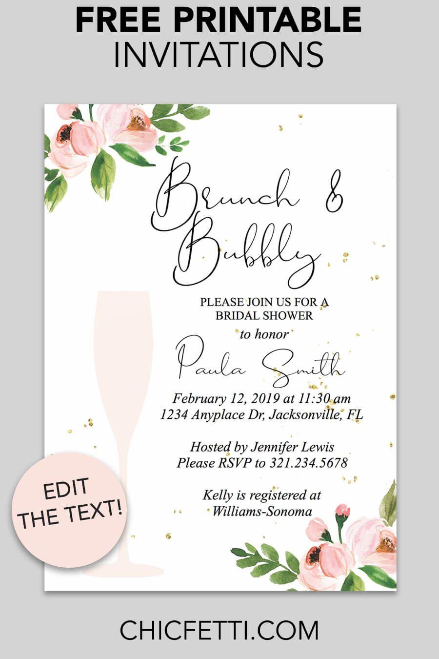 Bridal Shower Printable Invitation (Floral Bubbly   Invitations - Free Printable Bridal Shower Invitations Templates