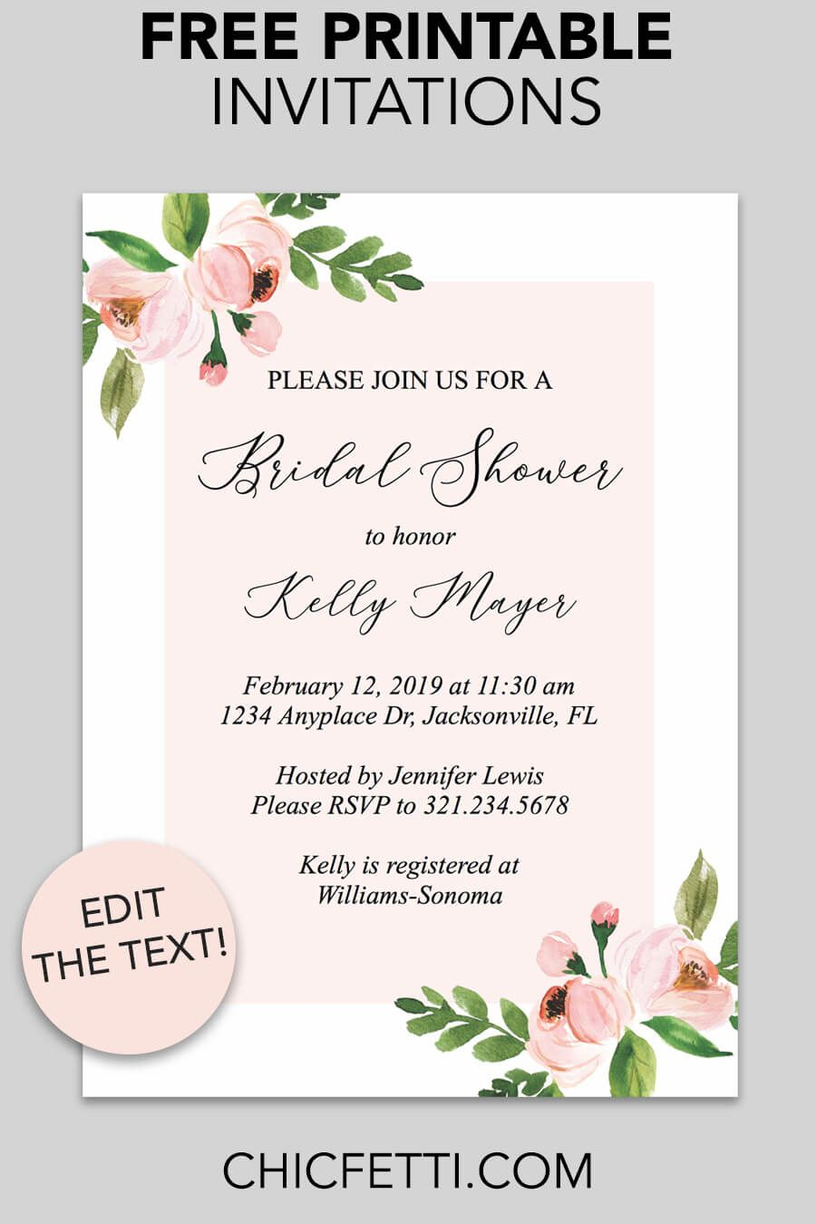 Bridal Shower Printable Invitation (Light Pink Floral | Free - Free Printable Bridal Shower Invitations
