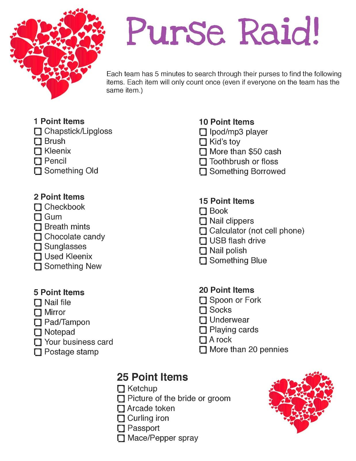 Bridal Shower Purse Raid Printable Game   Wedding/baby Shower Stuff - Free Printable Bridal Shower Games What's In Your Purse