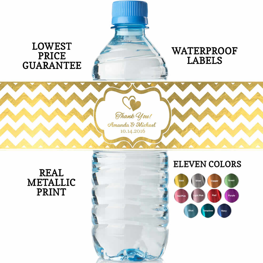 Bridal Shower Water Bottle Labels Real Metallic Print Built In - Free Printable Water Bottle Labels Bachelorette