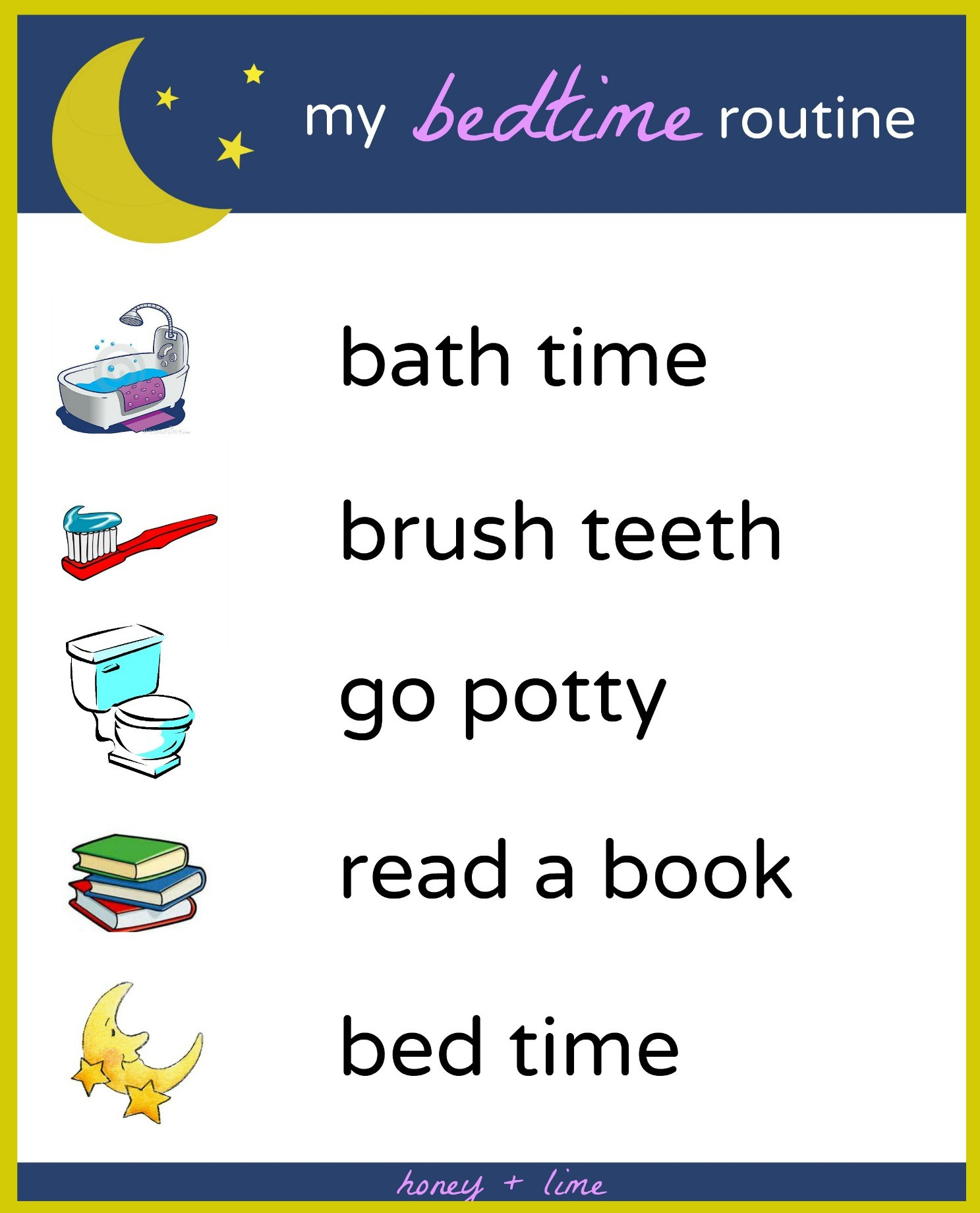 Brush, Book, Bed: A Printable Bedtime Routine Chart For Kids - Free Printable Bedtime Routine Chart