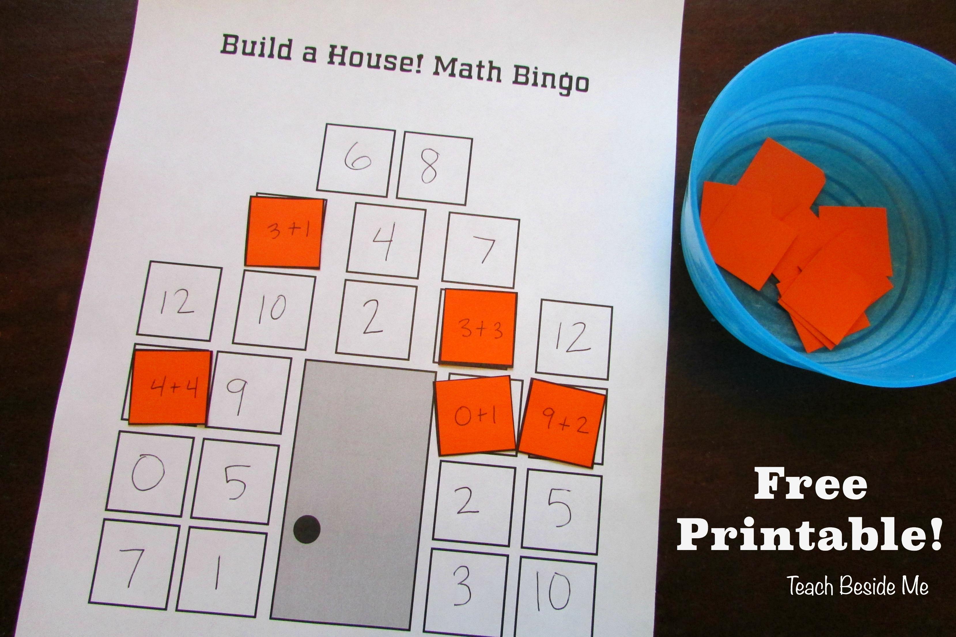 Build-A-House Math Bingo – Free Printable – Teach Beside Me - Math Bingo Free Printable