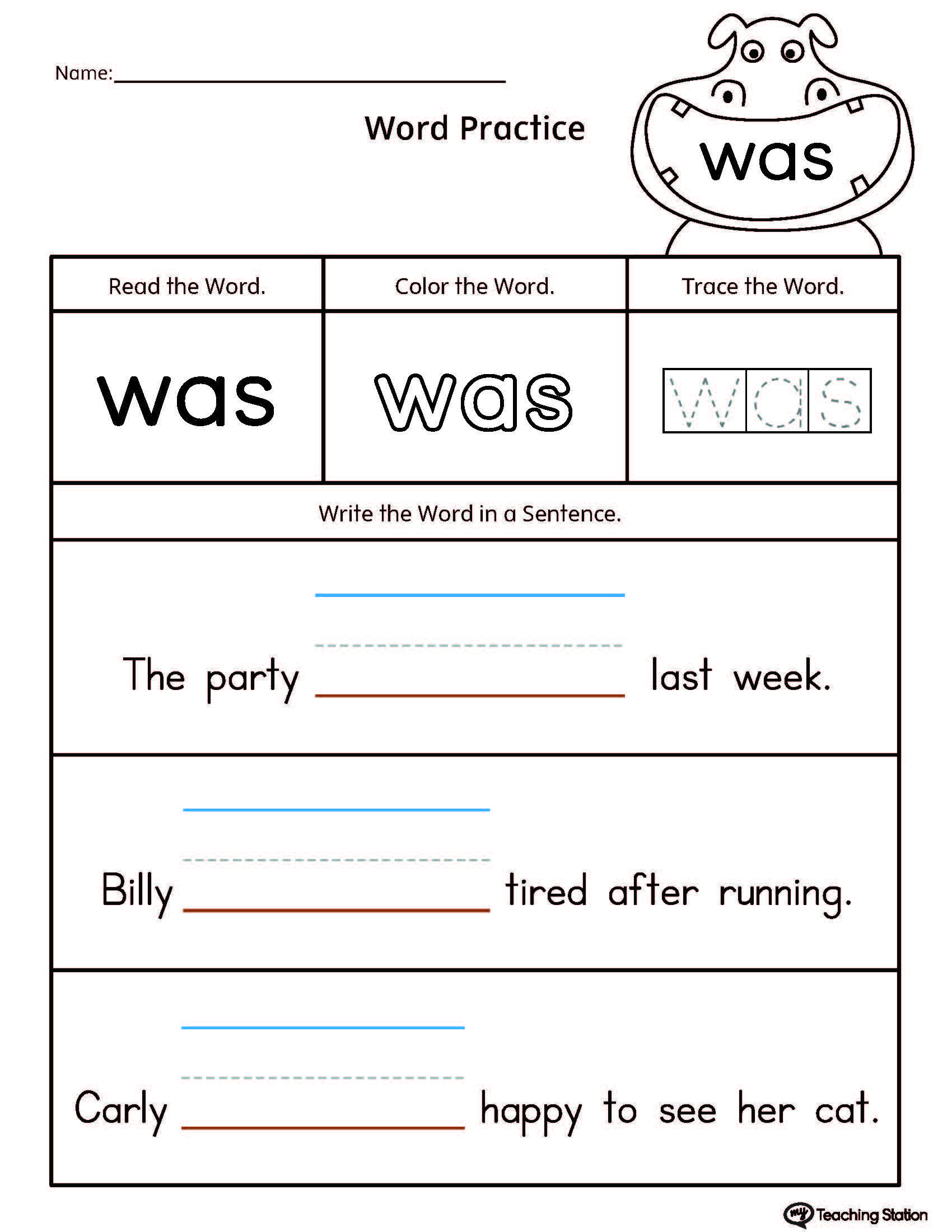Build Sentences Using Sight Word: Was | School | Pinterest | Sight - Free Printable Sight Word Worksheets