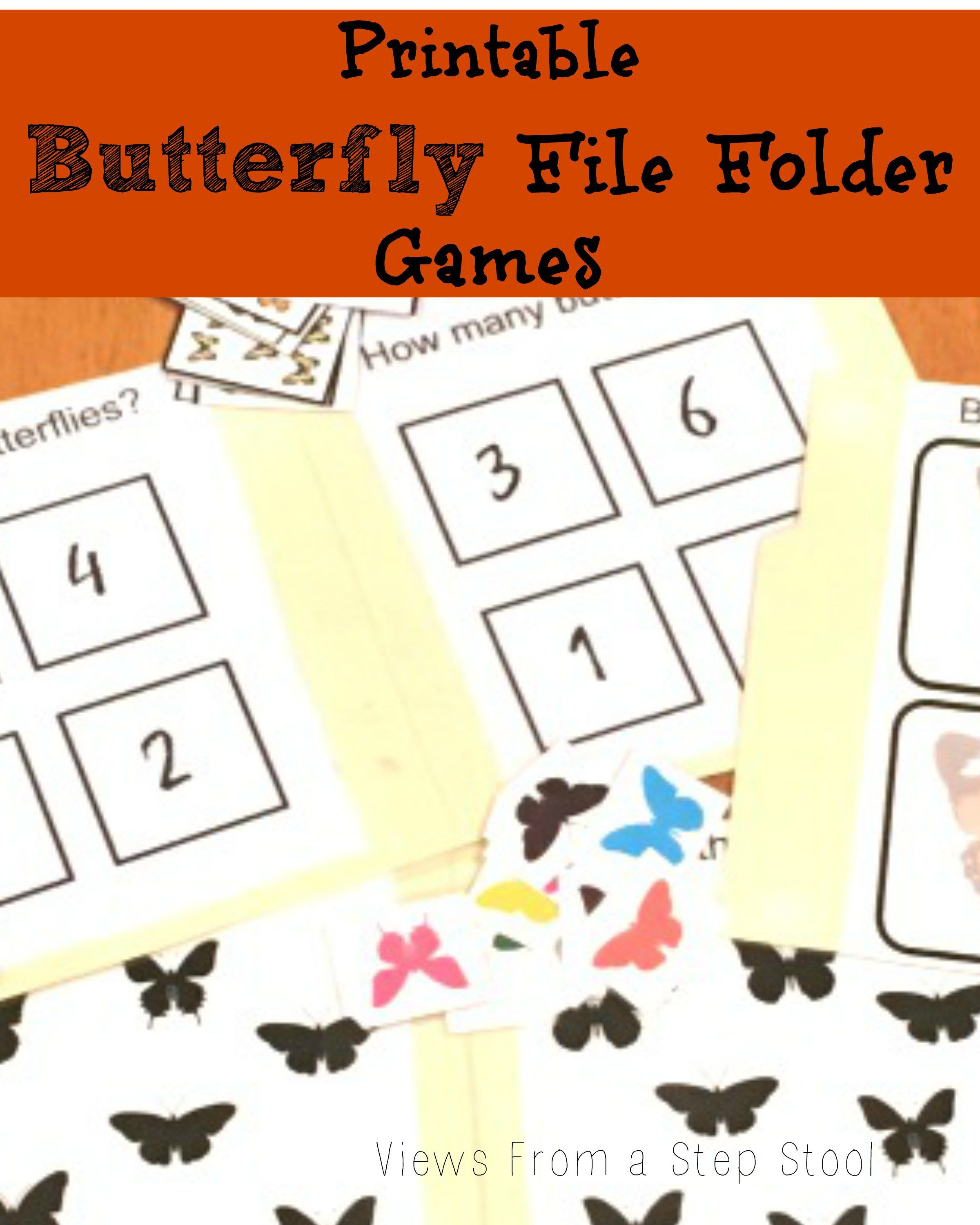 Butterfly File Folder Games: Free Printable!   Views From A Step - Free Printable File Folder Games