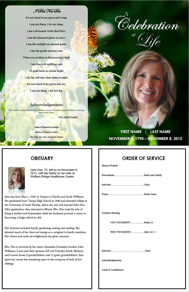 Butterfly Memorial Program   Memorials   Funeral Memorial, Memorial - Free Printable Funeral Programs