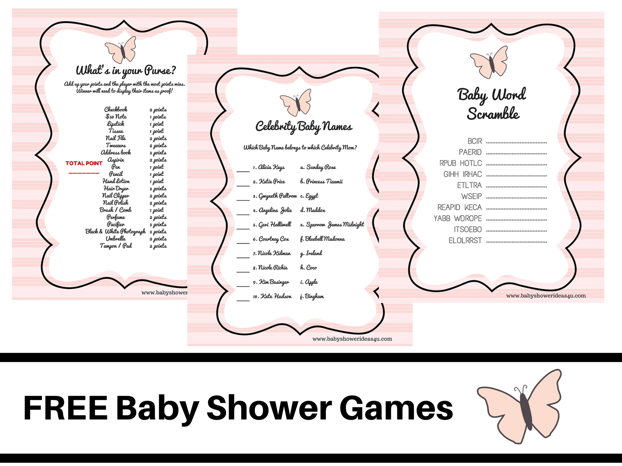 Butterfly-Theme-Baby-Shower-Free-Printable-Baby-Shower-Games-Baby - Free Printable Baby Shower Game What's In Your Purse