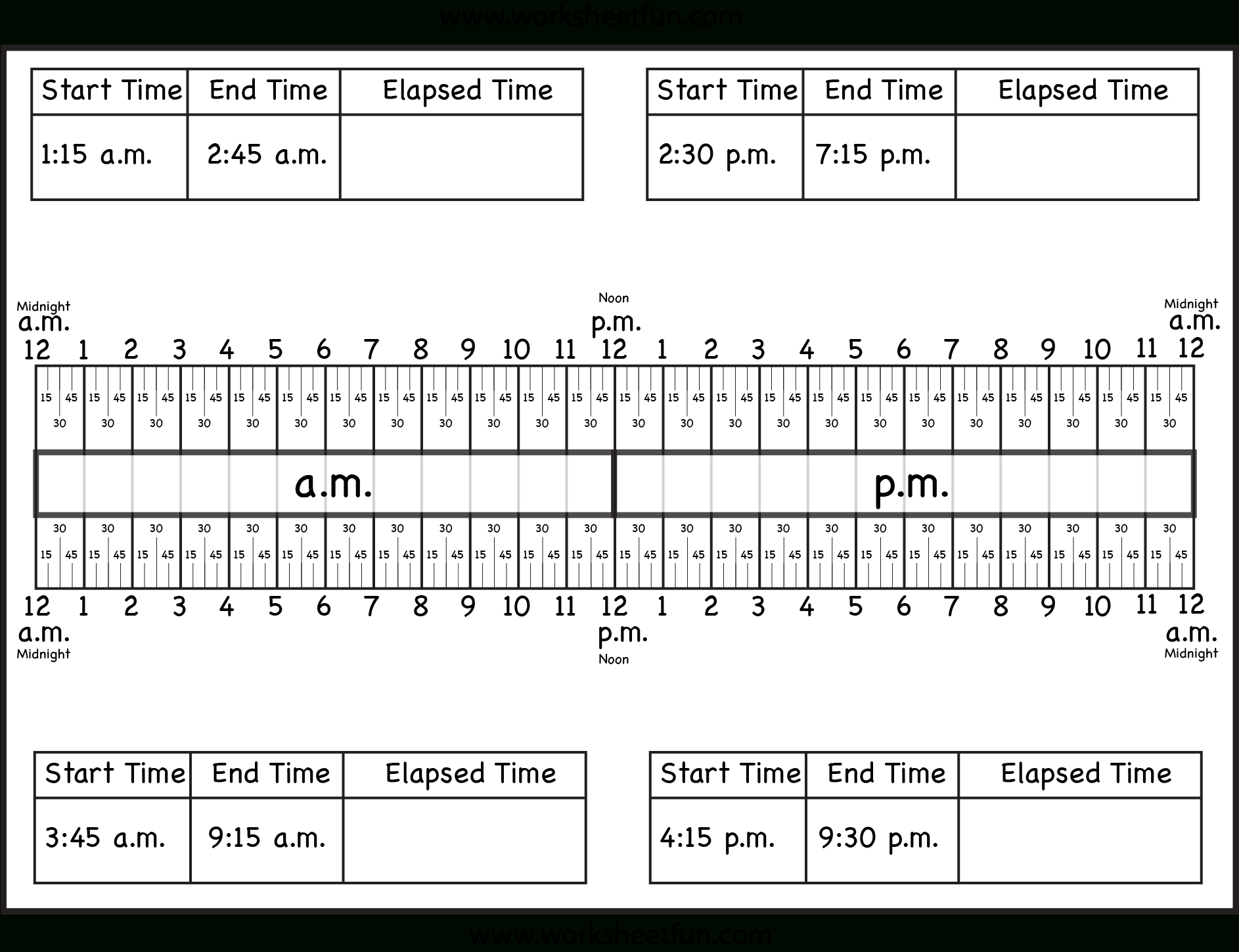 Calculate Elapsed Time – 5 Worksheets – 15, 30, 45, 60 Minutes - Elapsed Time Worksheets Free Printable