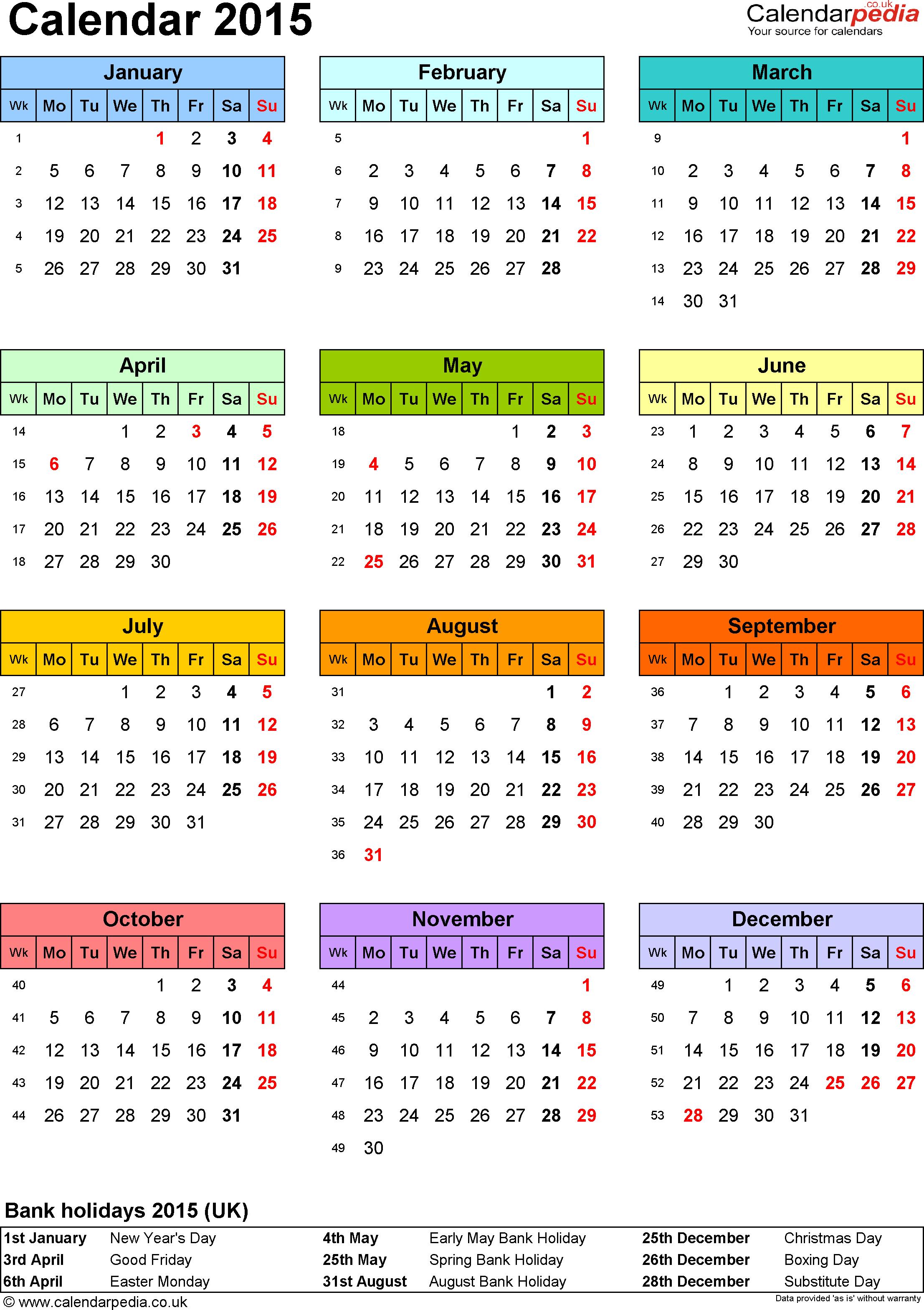 Calendar 2015 Uk 16 Free Printable Pdf Templates | News To Gow - Free Printable Diary 2015