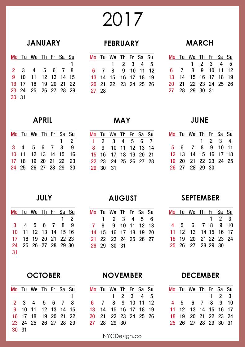 Calendar For 2017 Printable - Printable Calendar & Birthday Cards - Free 2017 Printable