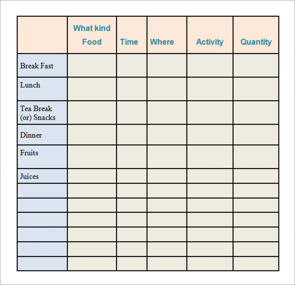 Calorie Log Printable - Yolar.cinetonic.co Inside Free Printable - Free Printable Calorie Counter Sheet
