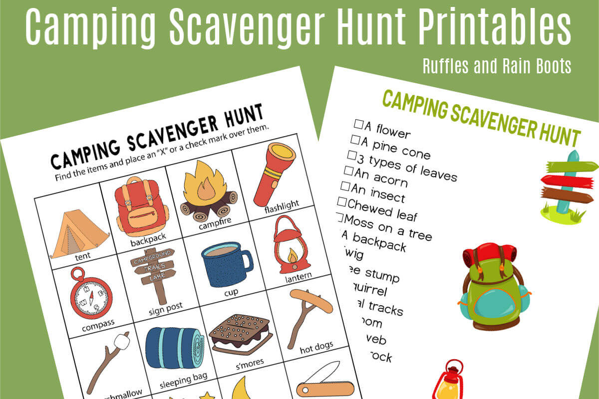 Camping Scavenger Hunt - Printables For Two Age Groups! - Ruffles - Free Printable Scavenger Hunt For Kids